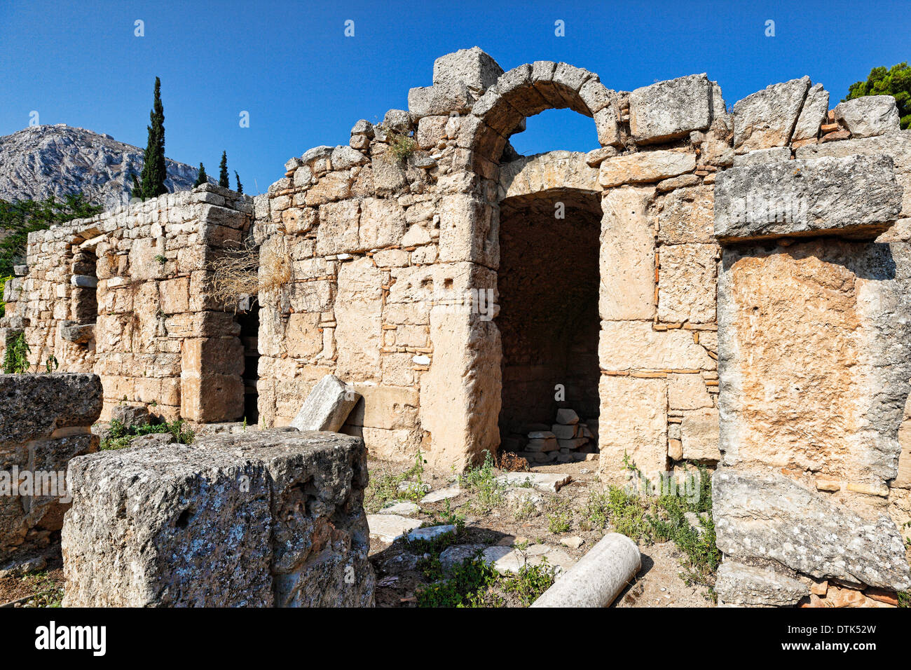 West Shops in Ancient Corinth, Greece - Stock Image