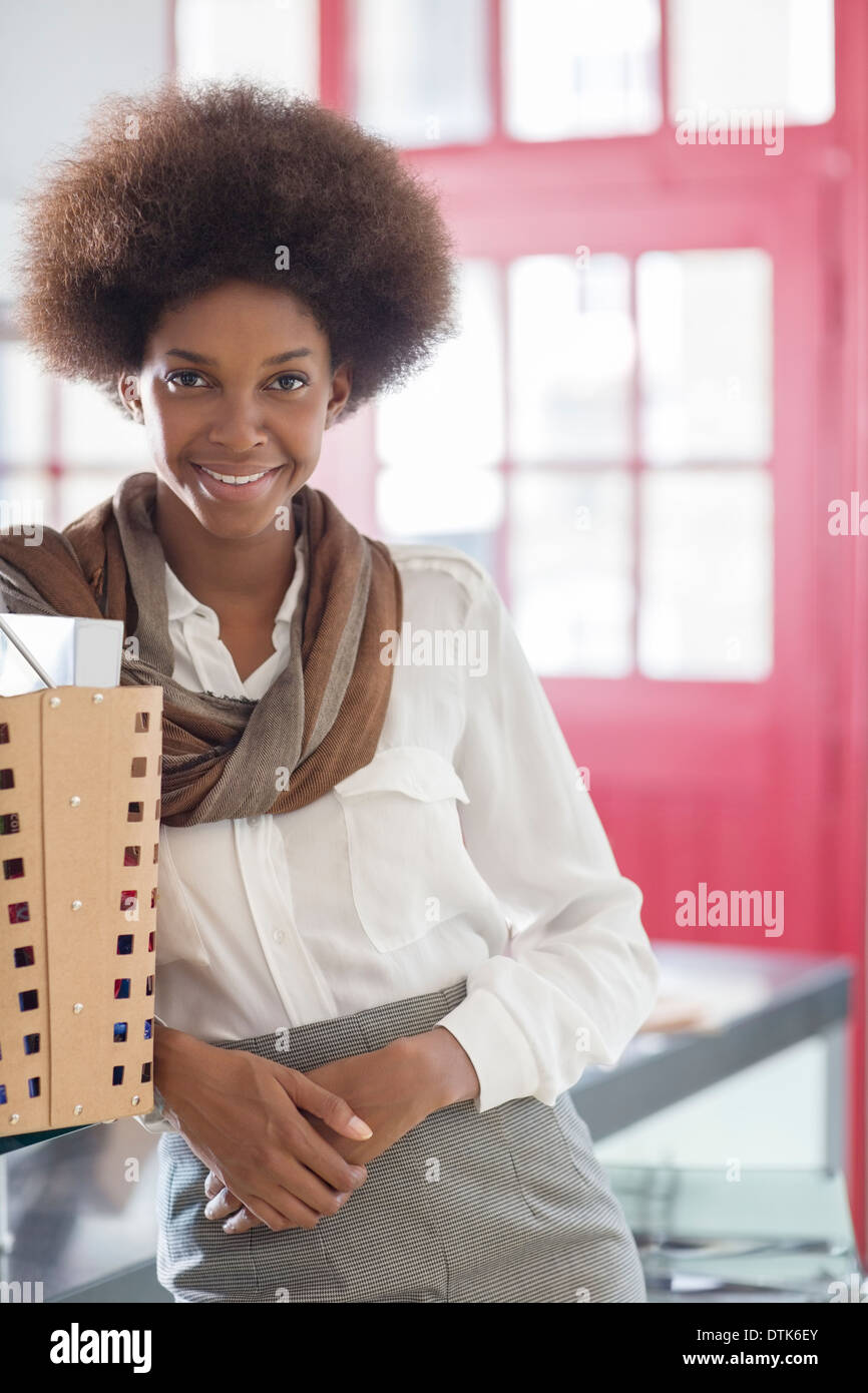 Businesswoman smiling - Stock Image