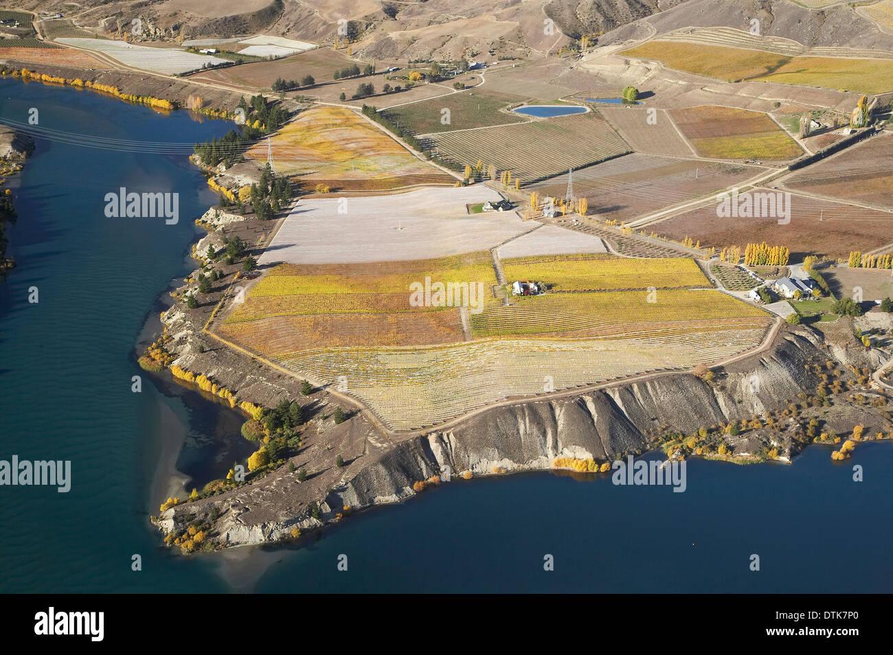 Carrick Vineyards and Lake Dunstan, Bannockburn, Central Otago, South Island, New Zealand - aerial Stock Photo