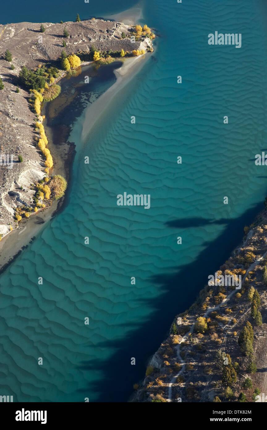 Siltation in Kawarau Arm, Lake Dunstan, Central Otago, South Island, New Zealand - aerial Stock Photo