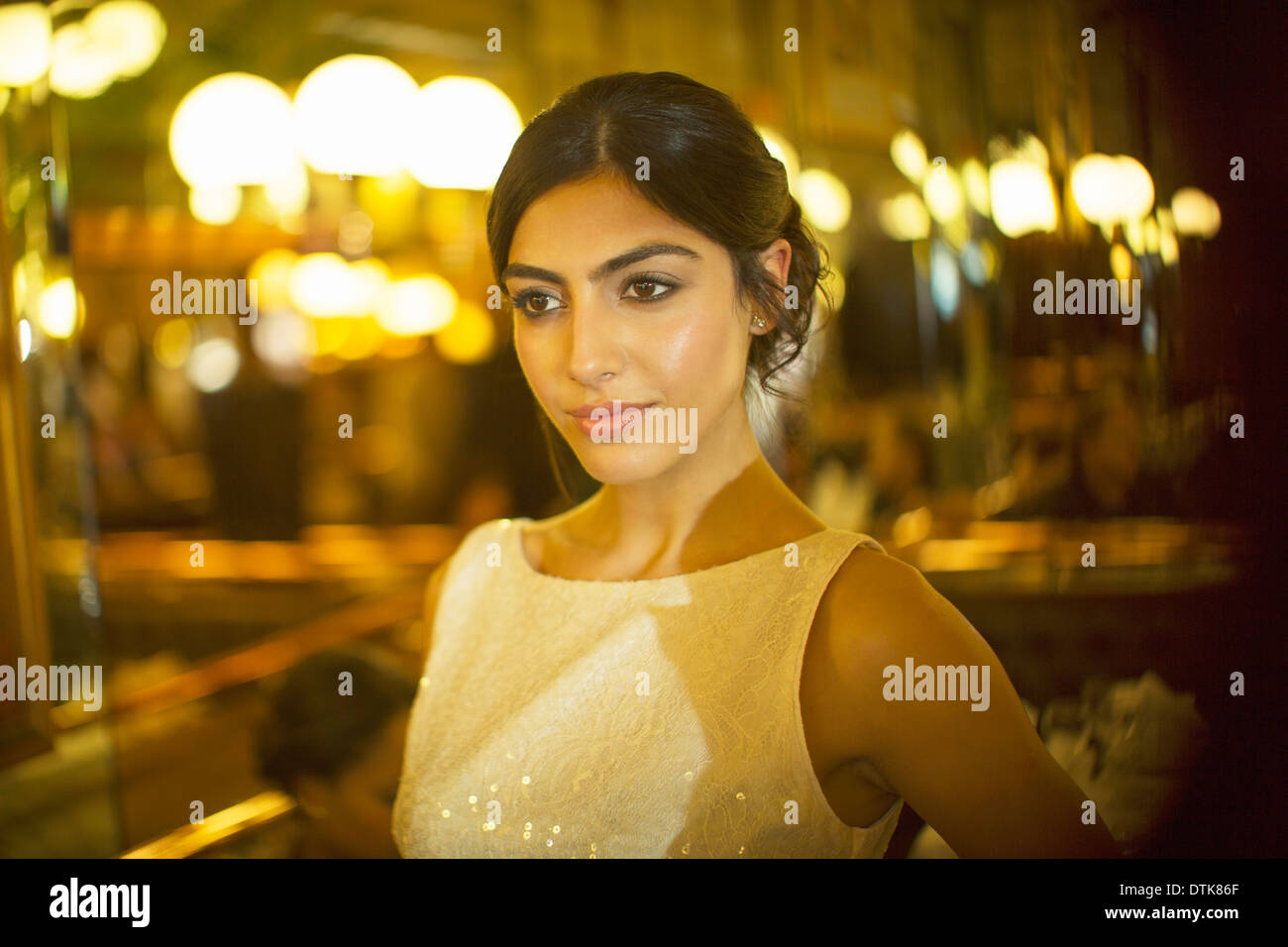 Serious woman in dress - Stock Image