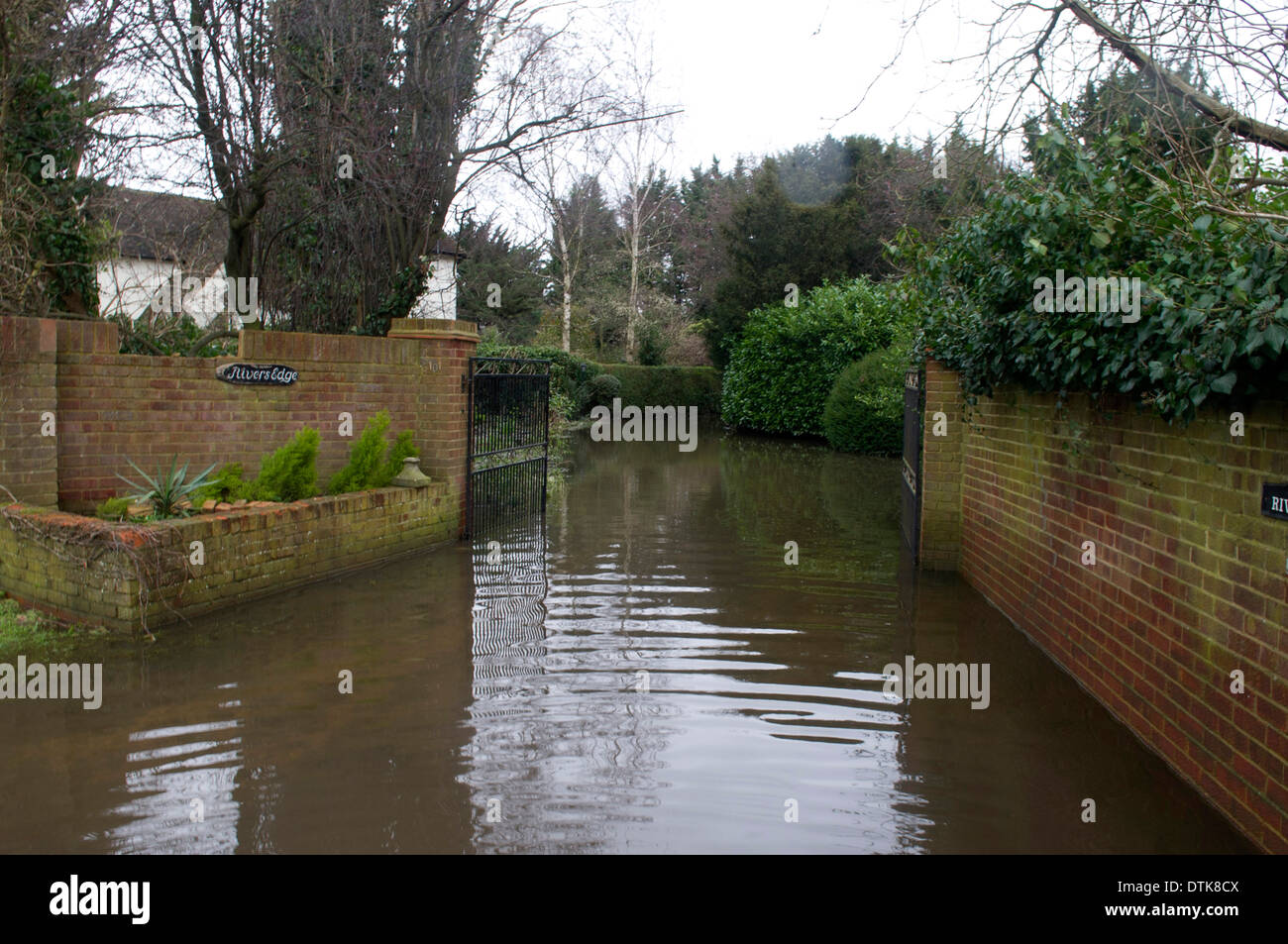 Flooded residential area and park in Staines. - Stock Image