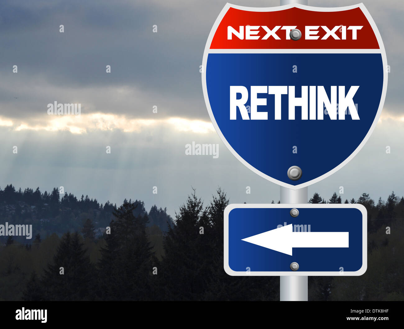 Rethink road sign - Stock Image