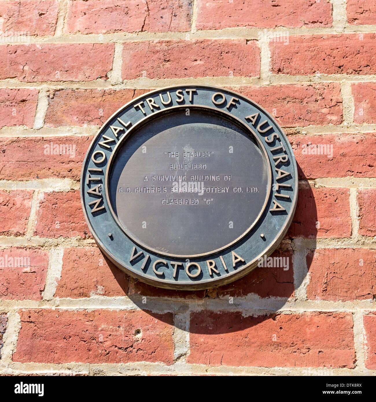 National Trust of Australia plaque Bendigo, Victoria, Australia - Stock Image