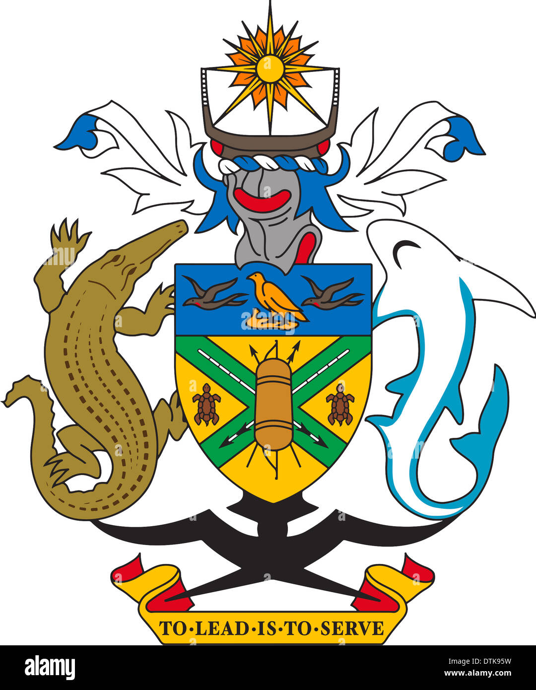 Coat of arms of the Solomon Islands. - Stock Image