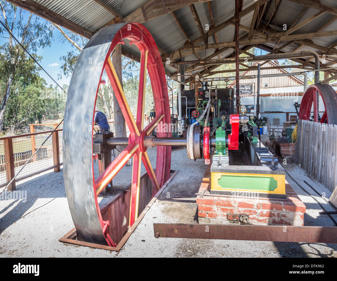 Steam engine house and flywheels at the Historic Port of Echuca precinct on the Murray River, Victoria, Australia - Stock Image