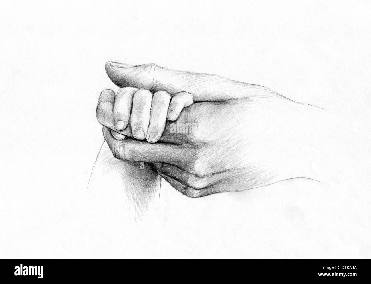 illustration of hands.mother and babe, - Stock Image