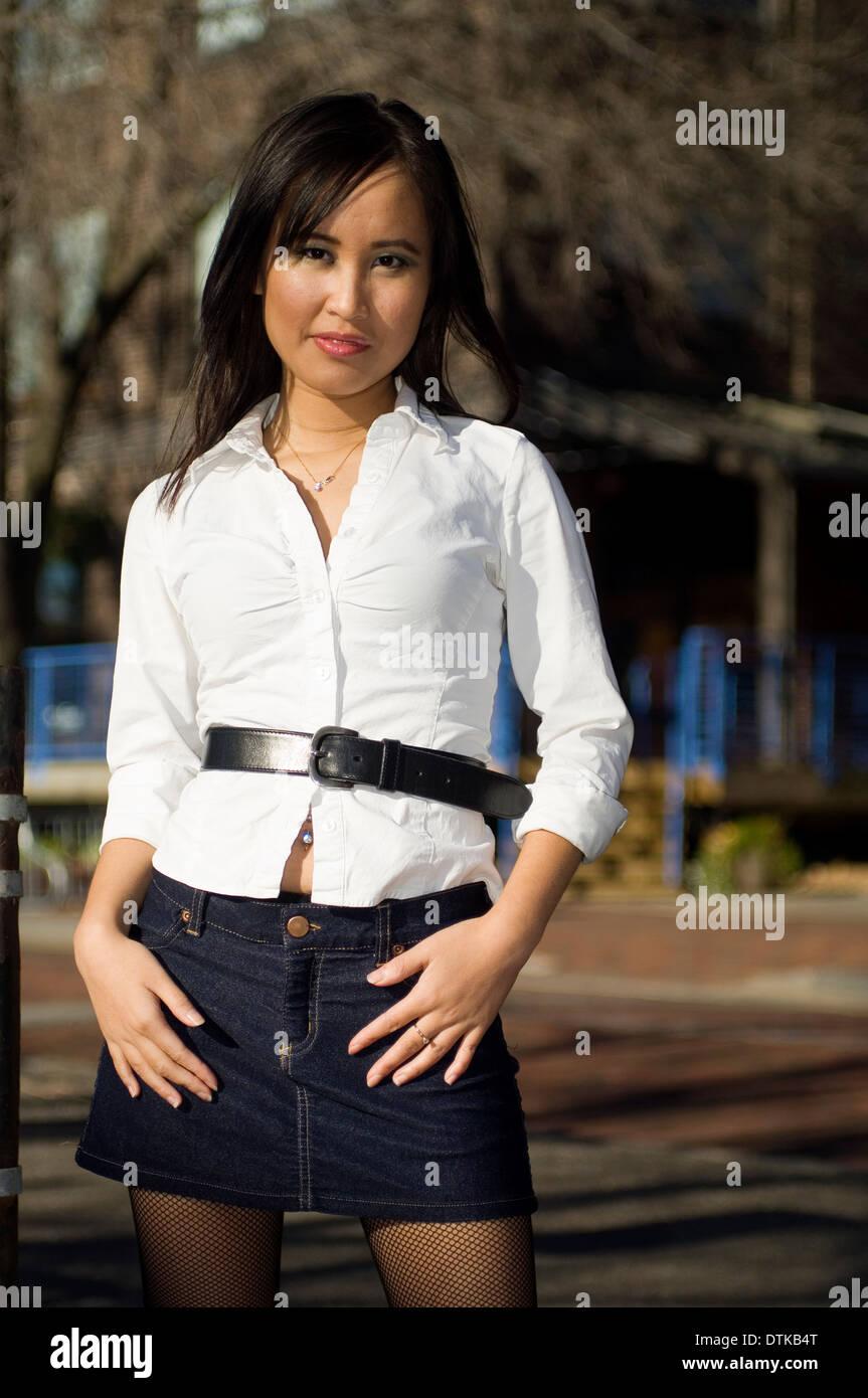Young Woman Wearing Short Skirt Stock Photos Amp Young Woman