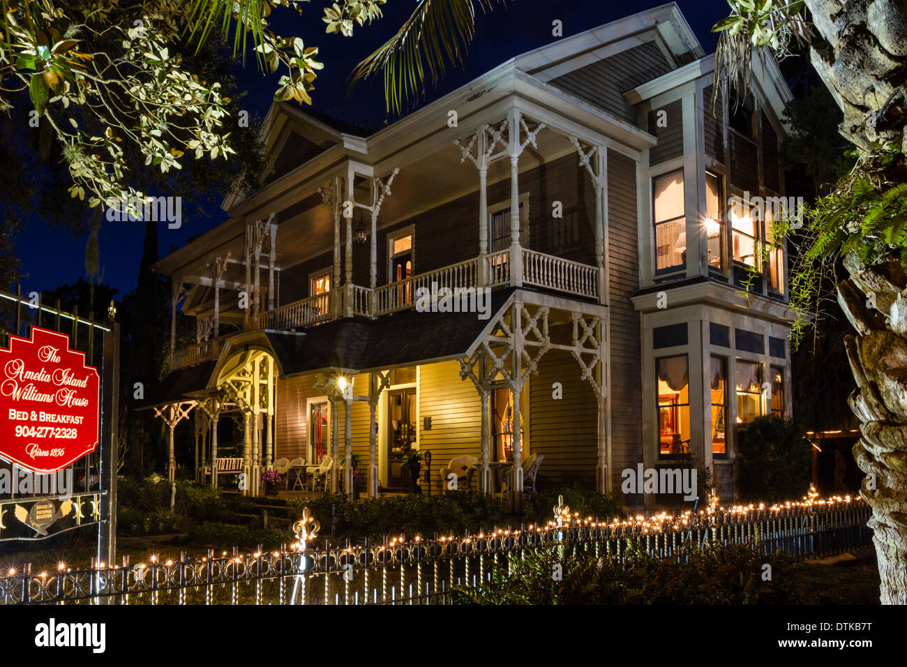 Victorian Home, The Williams House at twilight, Fernandina Beach, Florida - Stock Image
