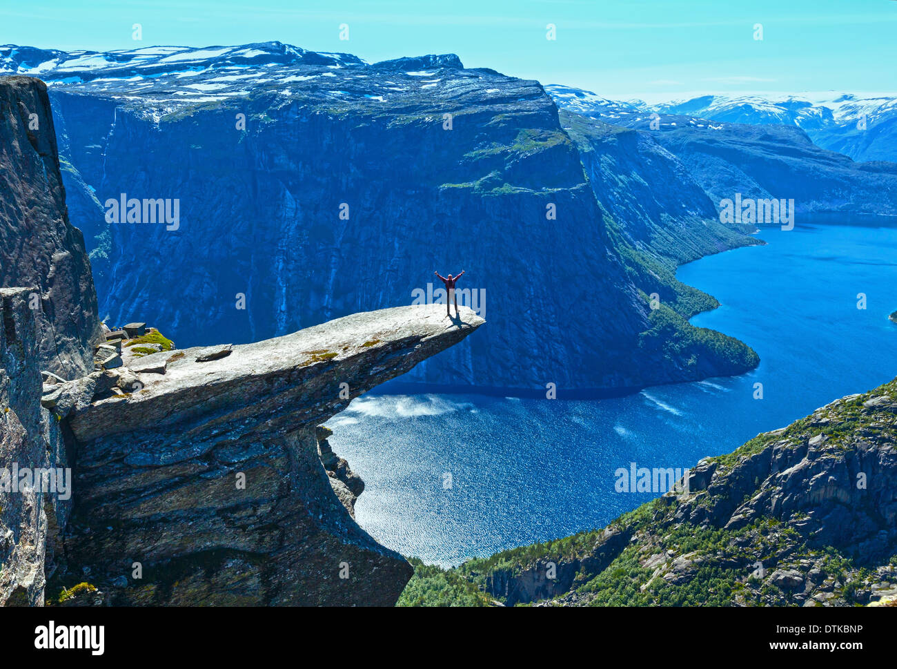The summer view of Trolltunga (The Troll's tongue) in Odda ( Ringedalsvatnet lake, Norway). - Stock Image
