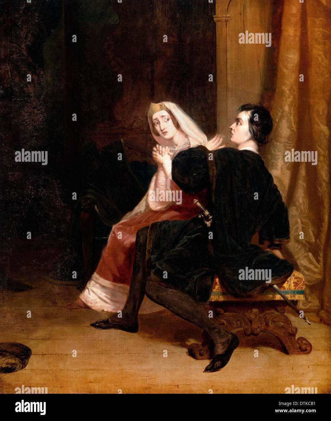 Richard Dadd, Hamlet and his Mother; The Closet Scene 1846 Oil on canvas. Yale Center for British Art, New Haven, USA. - Stock Image