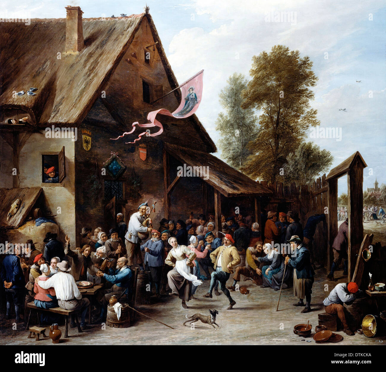 David Teniers the Younger, Kermis on St George's Day 1664-1667 Oil on canvas. Royal Collection of the United Kingdom, England. - Stock Image