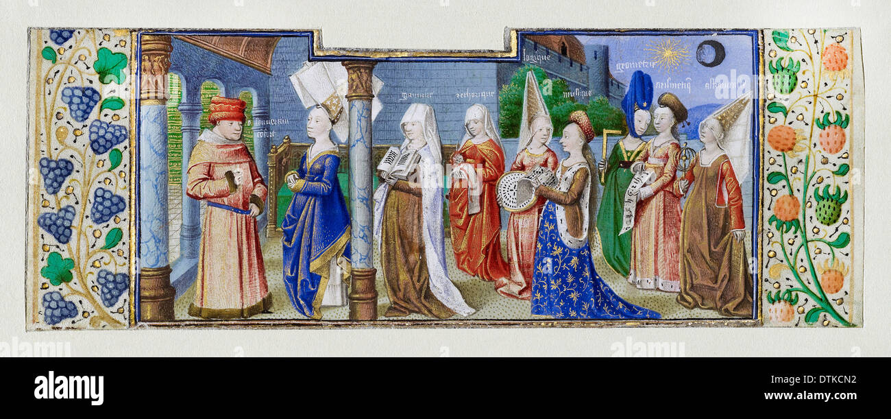 Coetivy Master, Philosophy Presenting the Seven Liberal Arts to Boethius. Circa 1460-1470 Tempera colors, gold leaf, parchment. - Stock Image