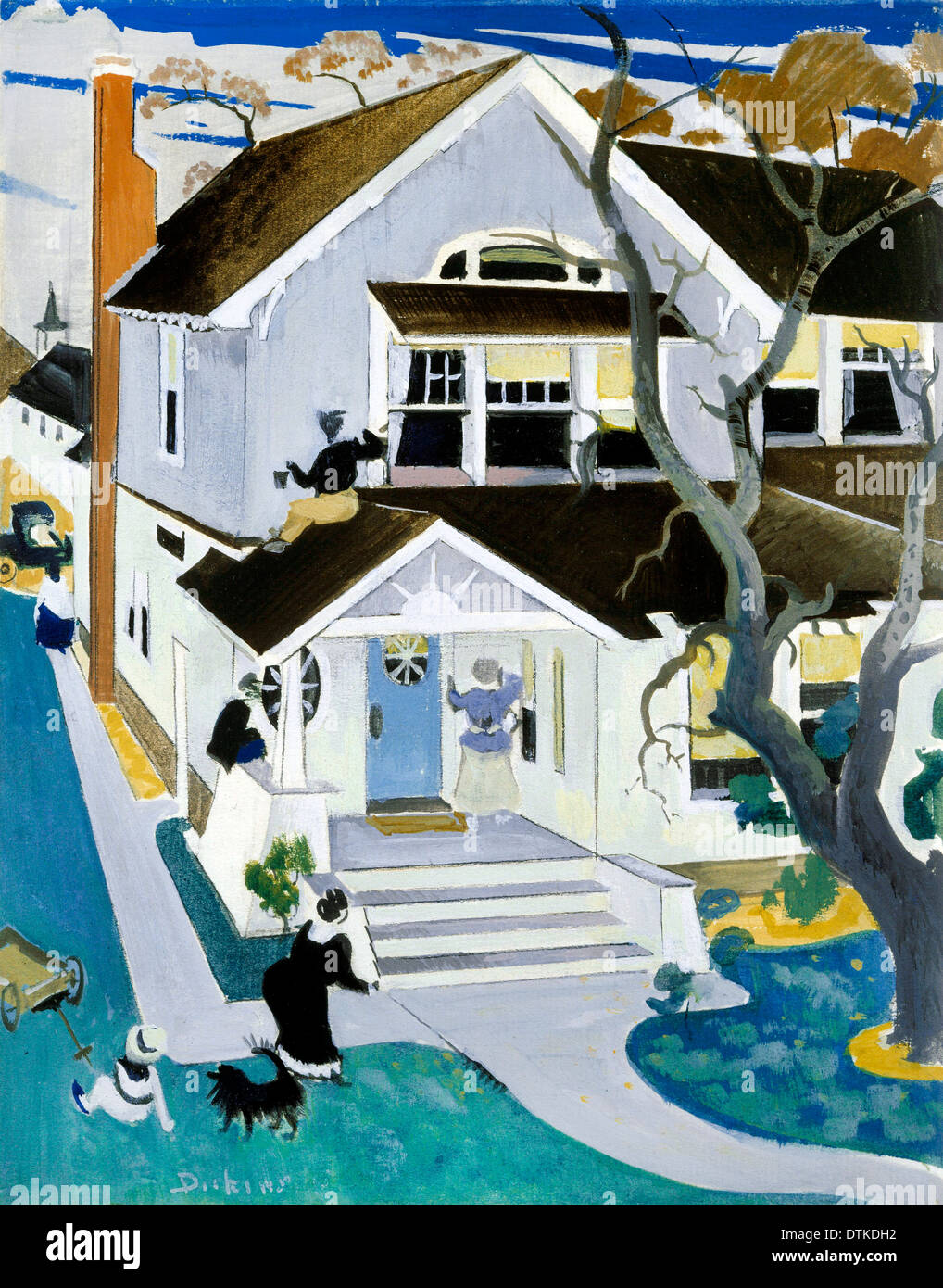 Preston Dickinson, My House. Undated. Gouache on Paper. Phillips Collection, Washington, D.C., USA. - Stock Image