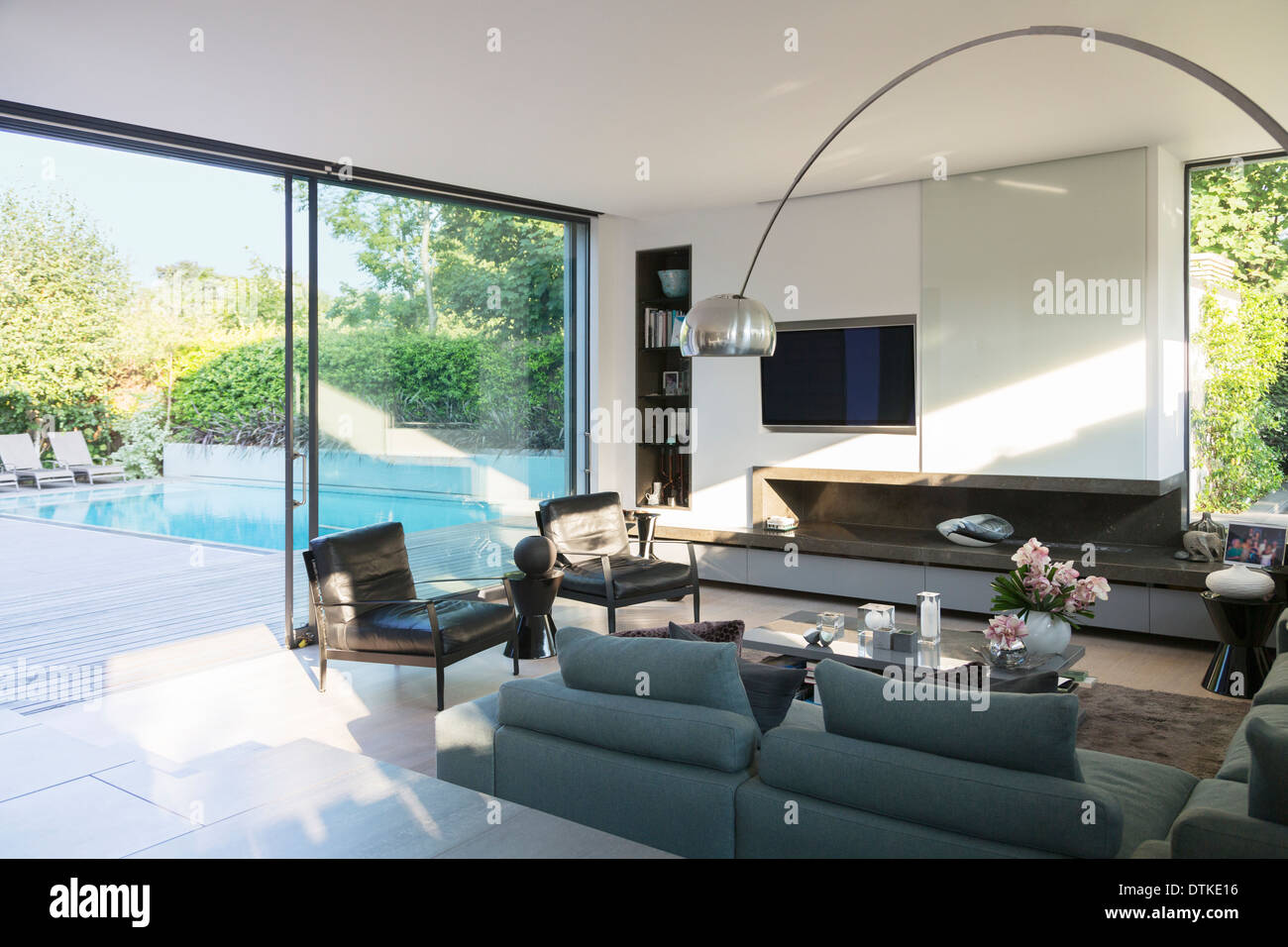 Modern Living Room Overlooking Patio With Swimming Pool Stock Photo Alamy
