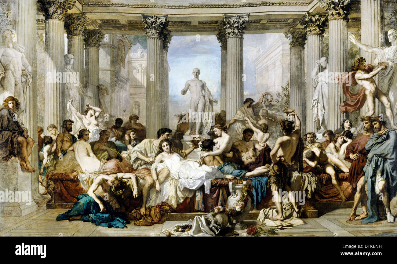 Thomas Couture, Romans During the Decadence 1847 Oil on canvas. Musée d'Orsay, Paris, France. - Stock Image