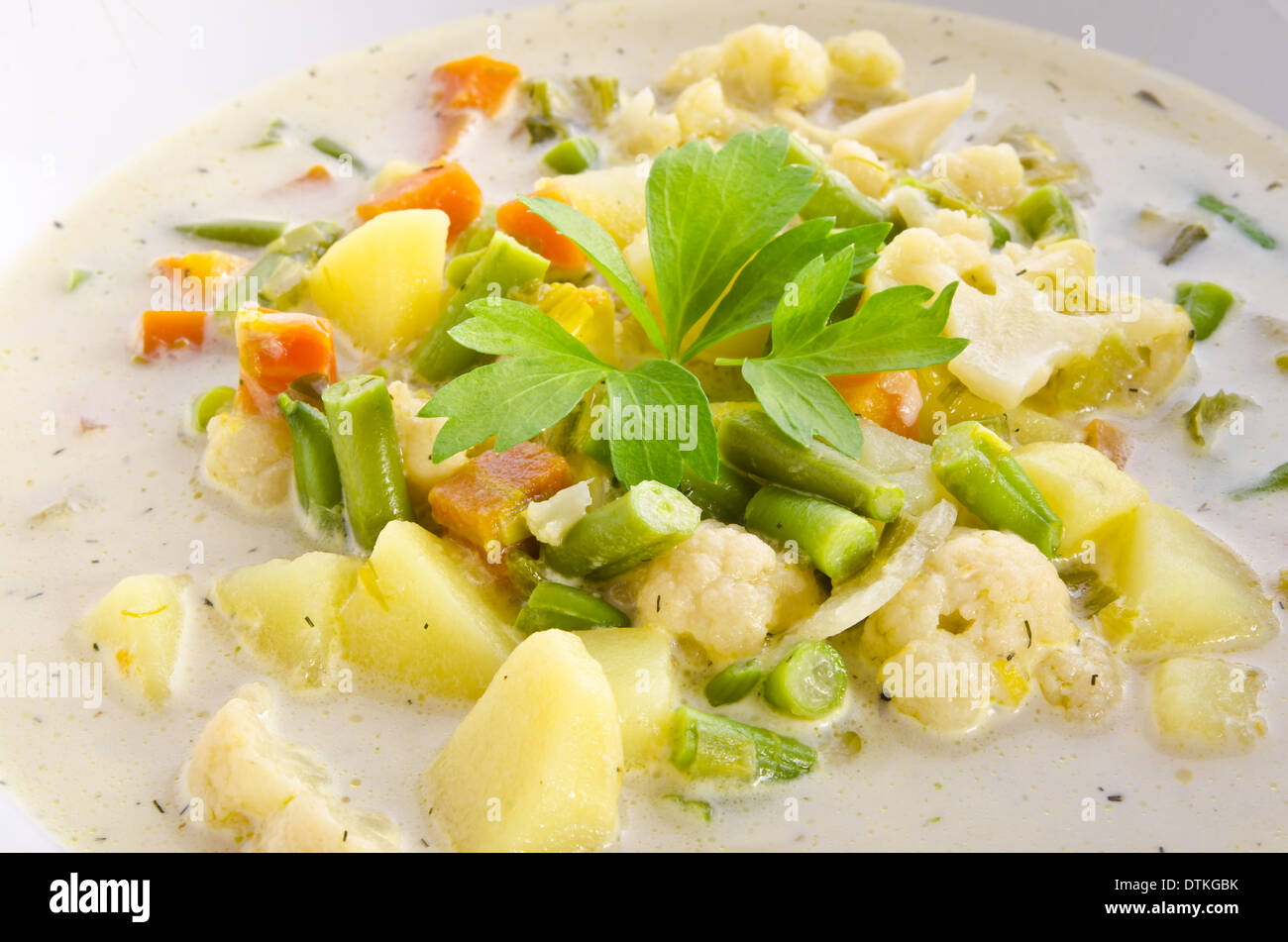 substantial vegetable soup - Stock Image