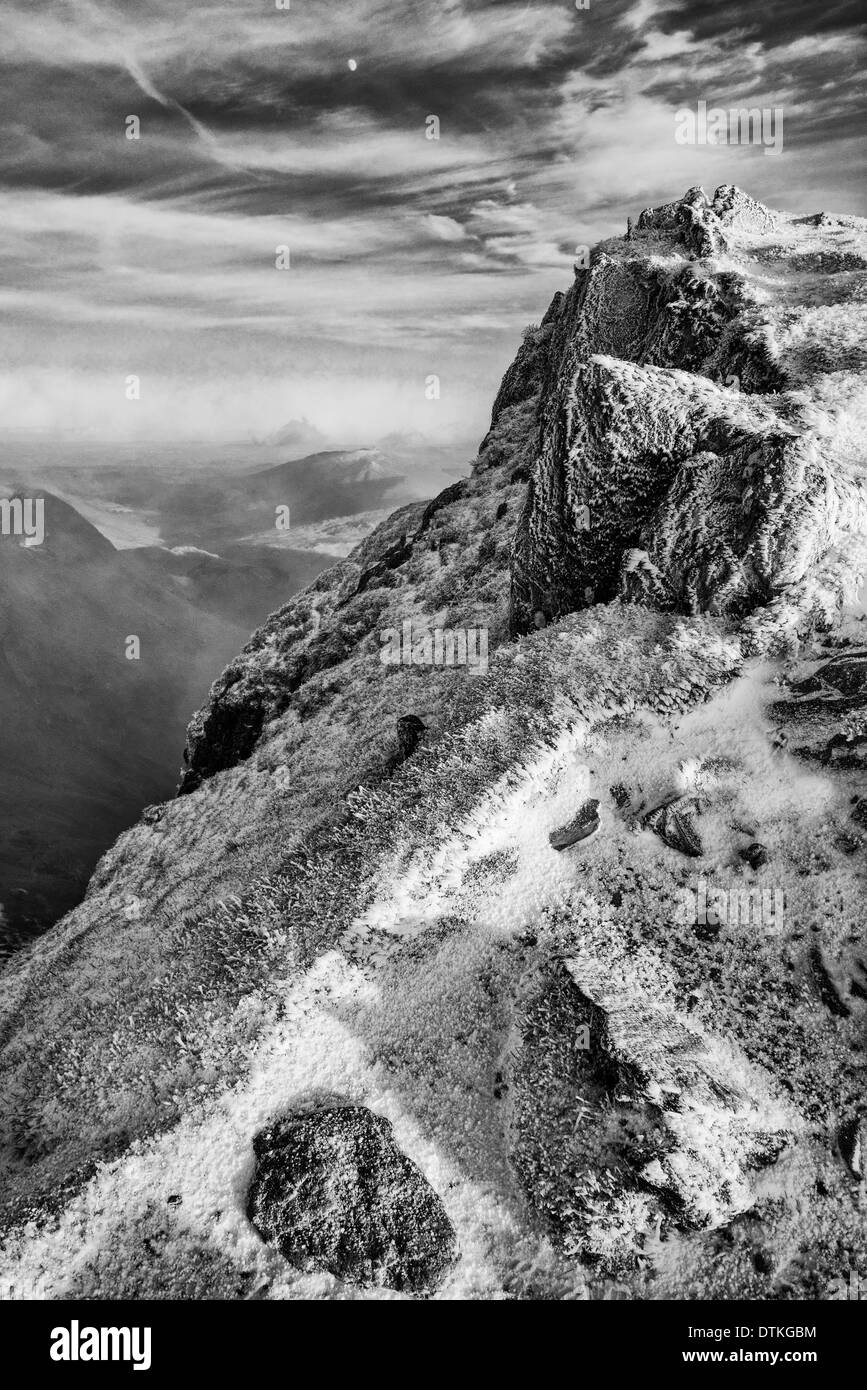 Winter scenery on Snowdon black and white - Stock Image