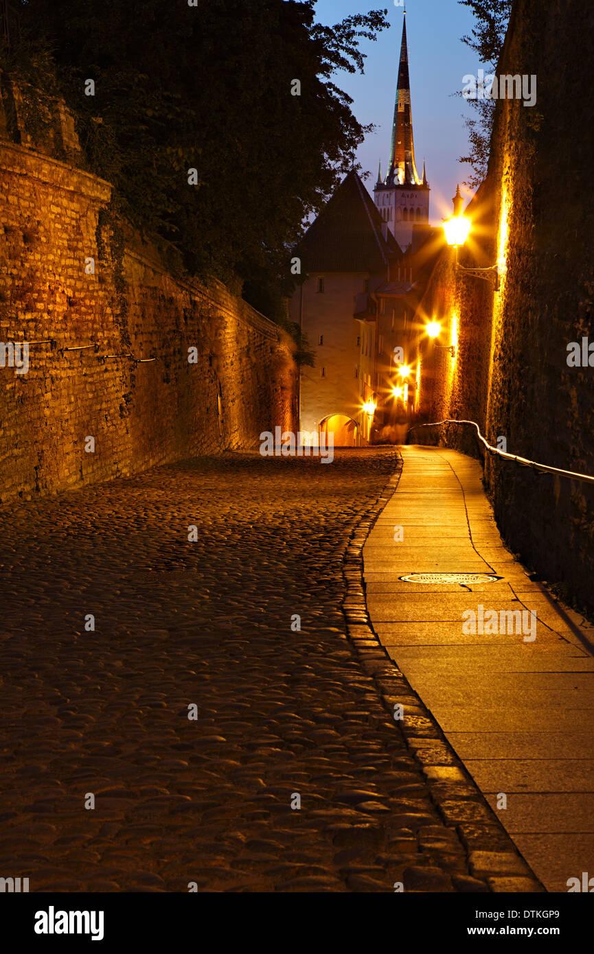 Old European sreet at night Stock Photo
