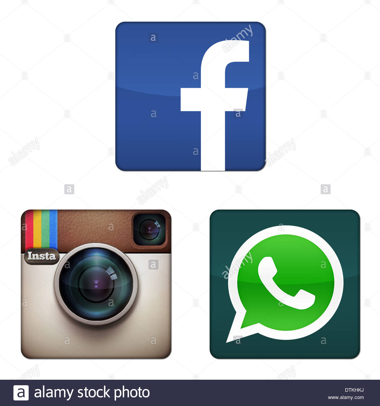 Facebook Whatsapp Instagram icon logo app button sign Stock Photo