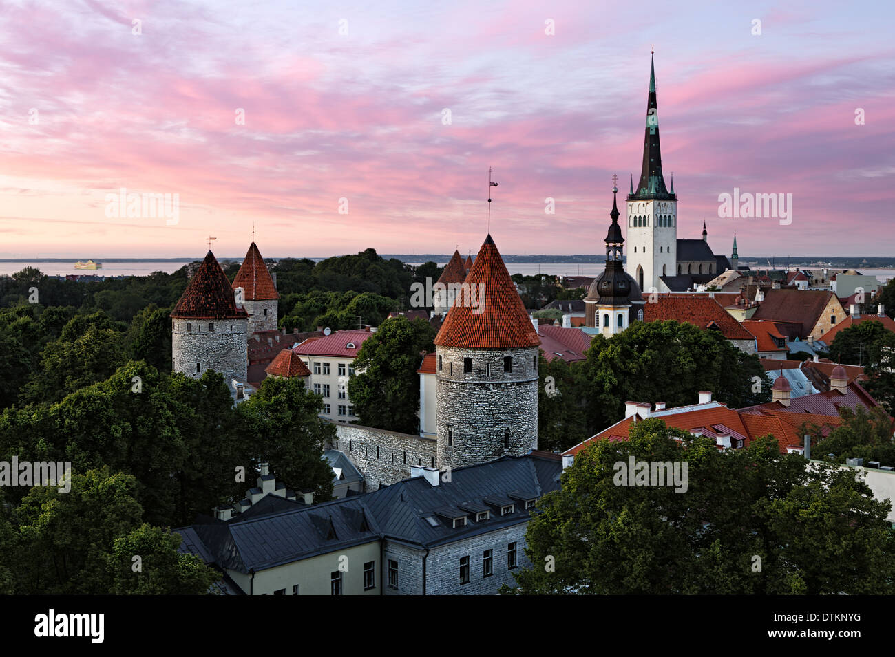 Panoramic view of Tallinn old city center - Stock Image