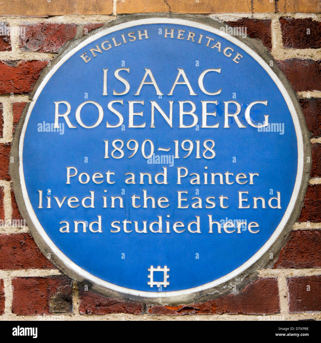 A blue plaque commemorating Isaac Rosenberg on the Whitechapel Gallery, formerly Whitechapel Library. - Stock Image