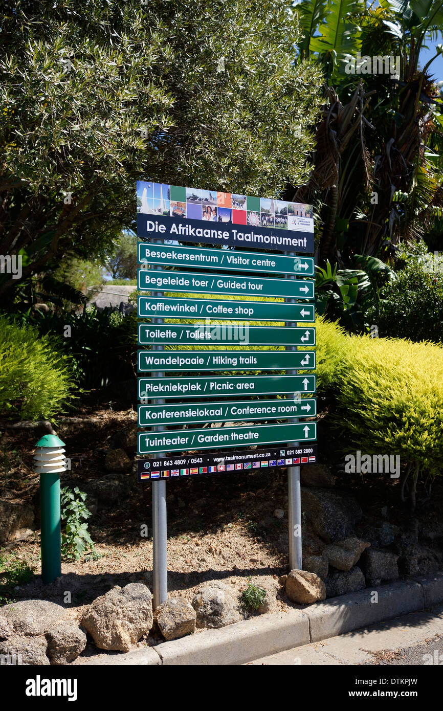 Information sign at The Afrikaans Language Monument ( Die Afrikaanse Taalmonument) in Paarl, South Africa. - Stock Image
