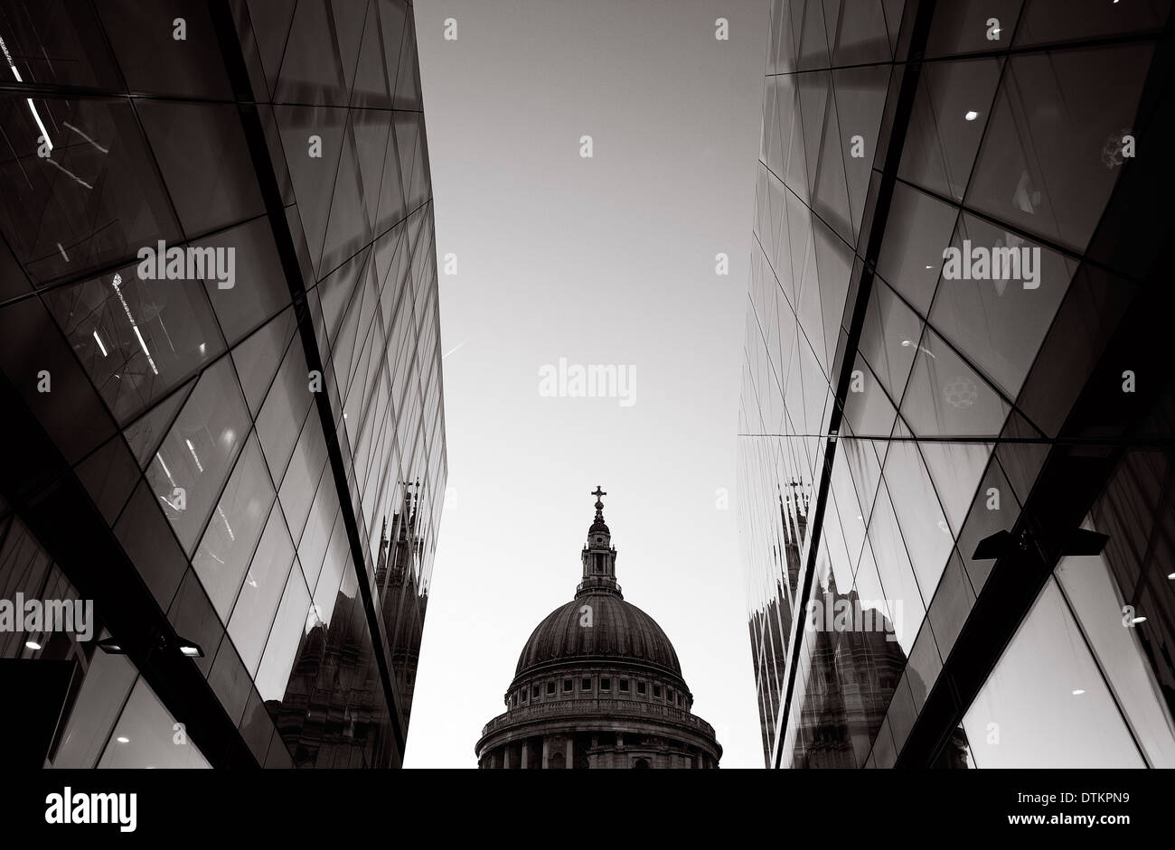The view of St Paul's Cathedral from modern building one new change shopping mall in London - Stock Image