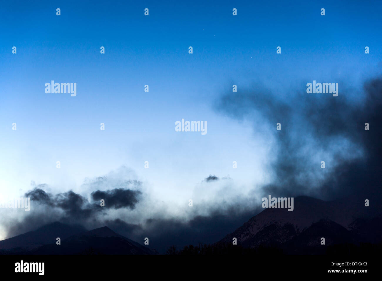 Clearing storm clouds & star studded sky over  Rocky Mountains, Central Colorado, USA - Stock Image