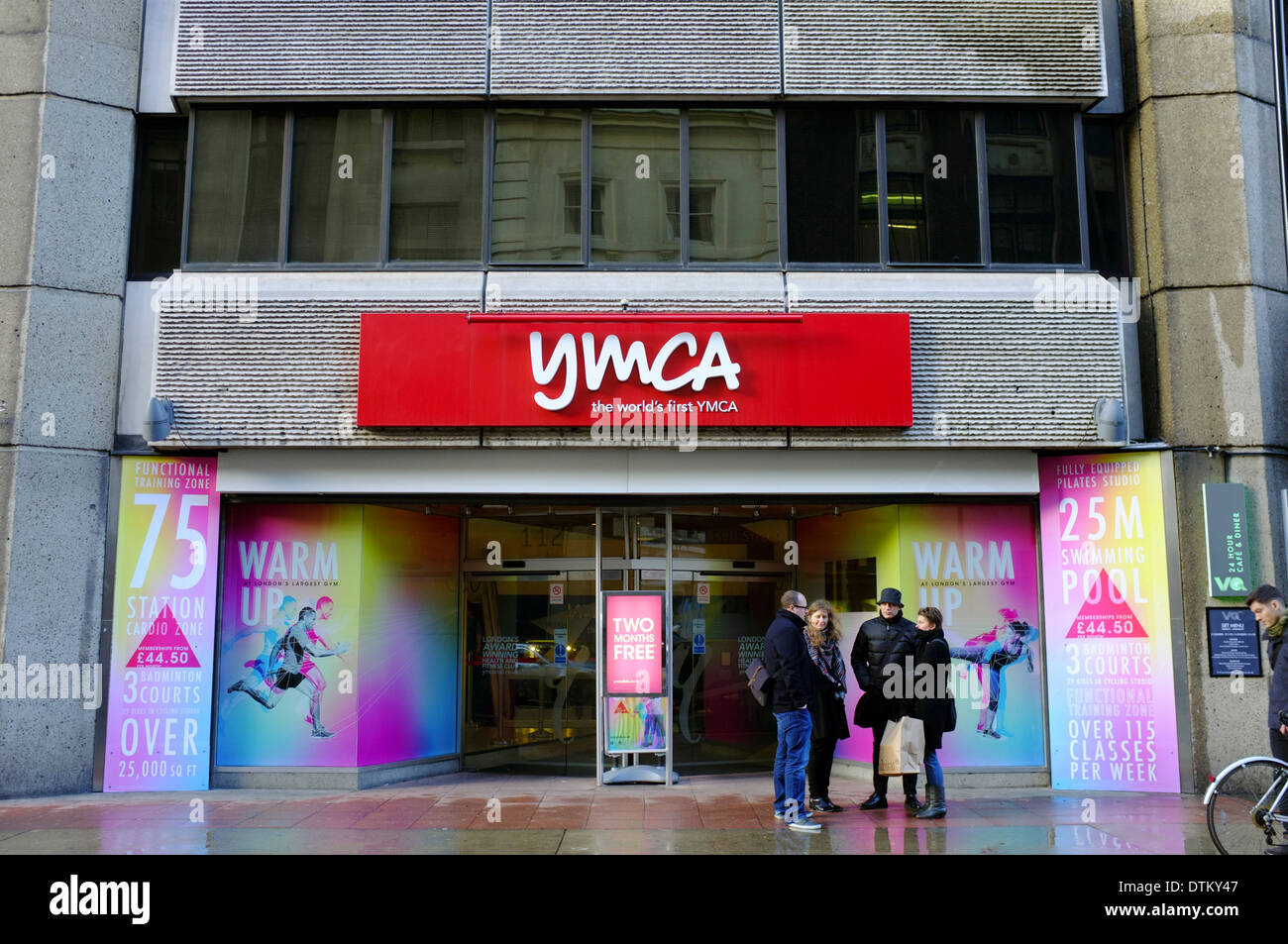 YMCA with people waiting outside, London - Stock Image