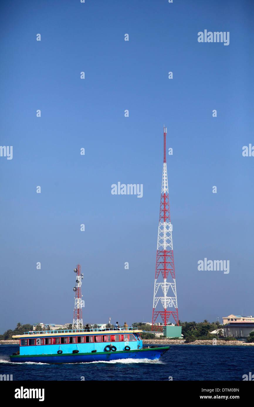 Maldives, Male, telecommunications antenna, inter-island ferry, - Stock Image