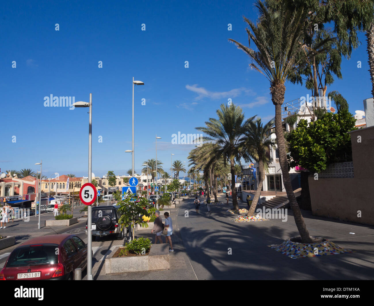 Palm lined street with wide pavements in the tourist resort of Playa de Las Americas Tenerife Canary Islands Spain - Stock Image