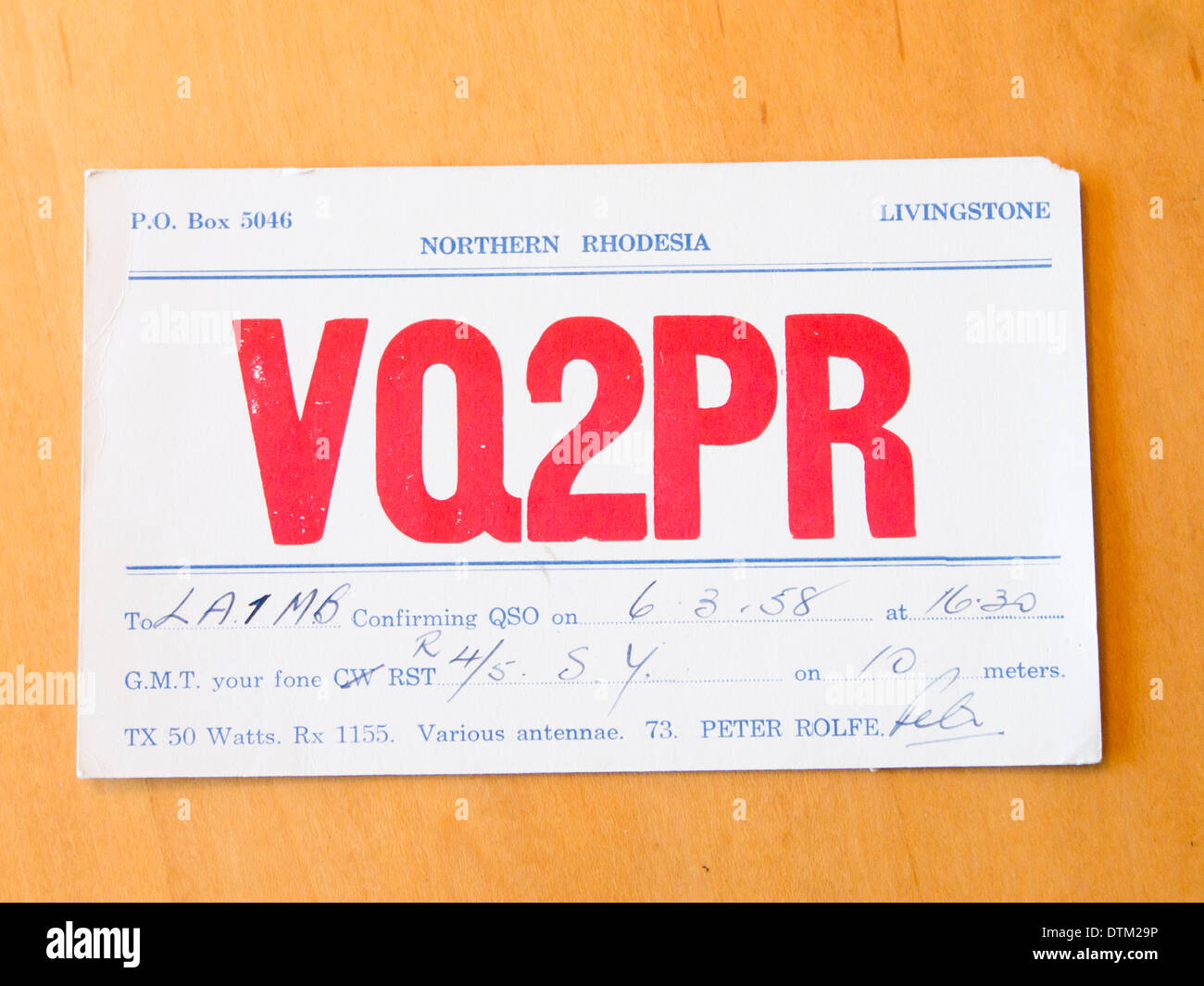 Vintage qsl card sent between radio amateurs - ham operators - on first contact, from Northern Rhodesia to Norway in 1958 - Stock Image