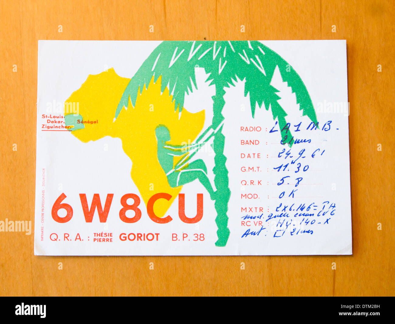 Vintage Qsl Cards Sent Between Radio Amateurs Ham Operators On First Contact From Senegal To Norway 1961