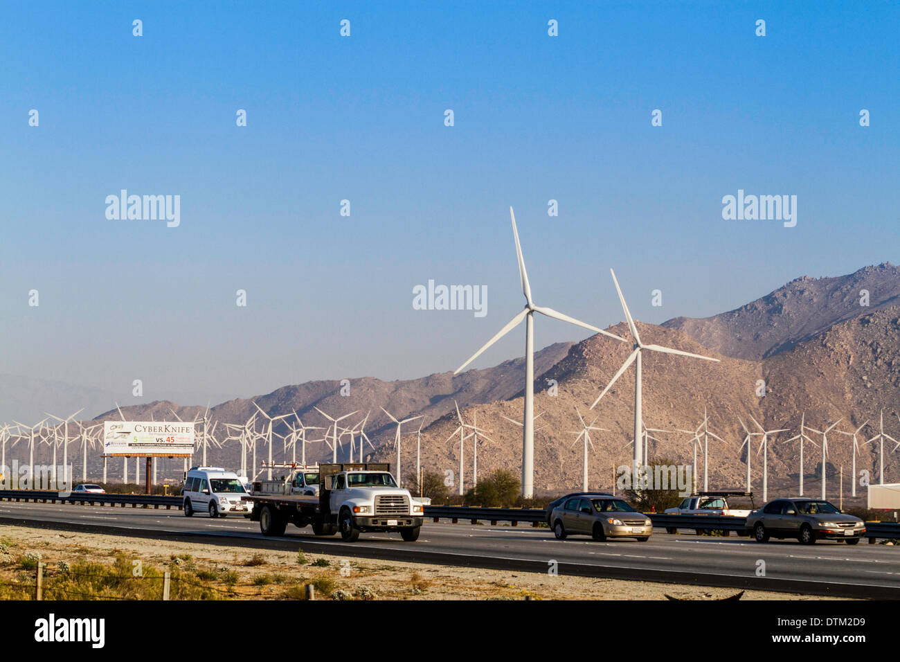 Wind farms in Palm Spring area of California Stock Photo