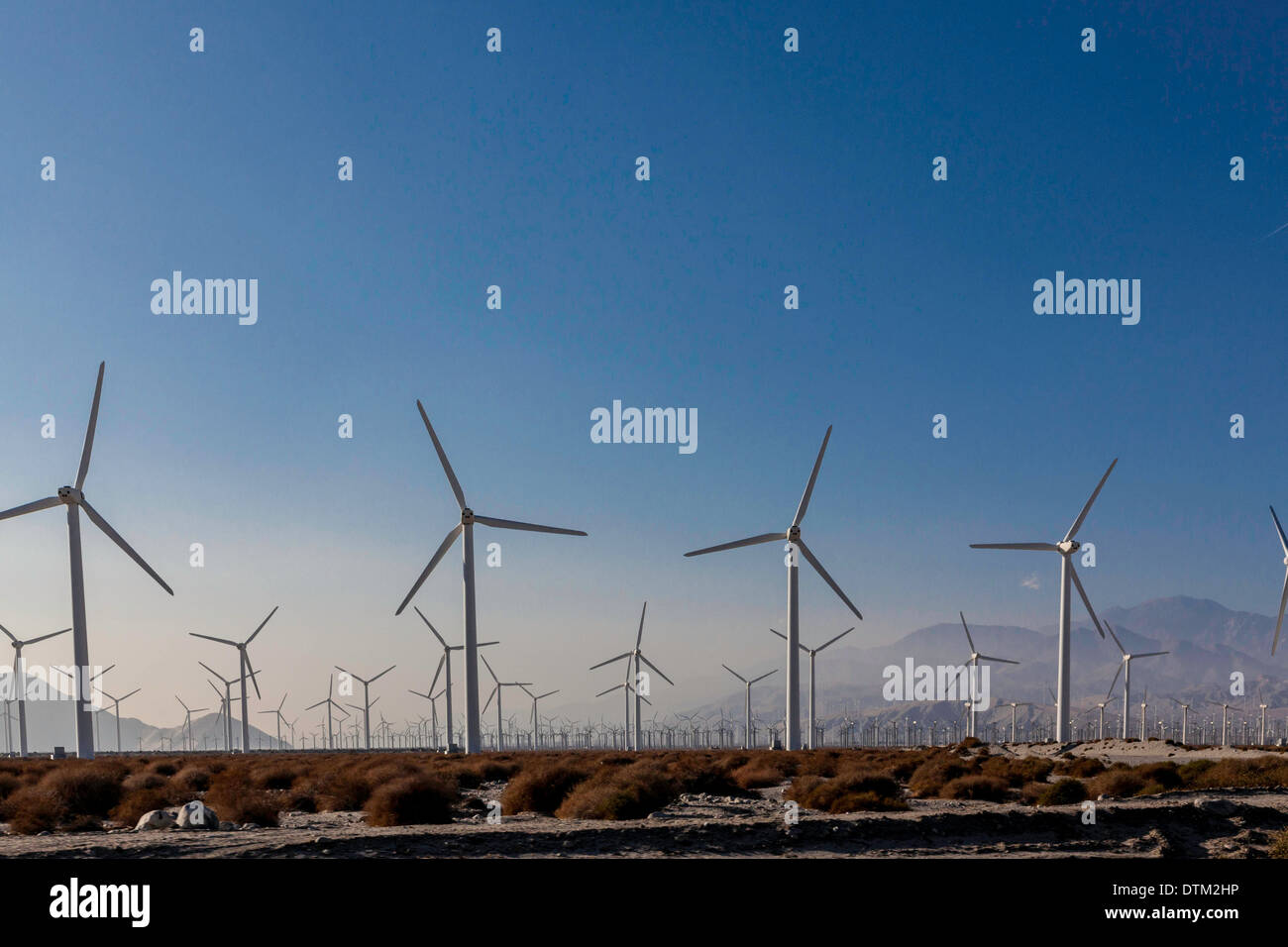 Wind farms in Palm Springs area of California Stock Photo
