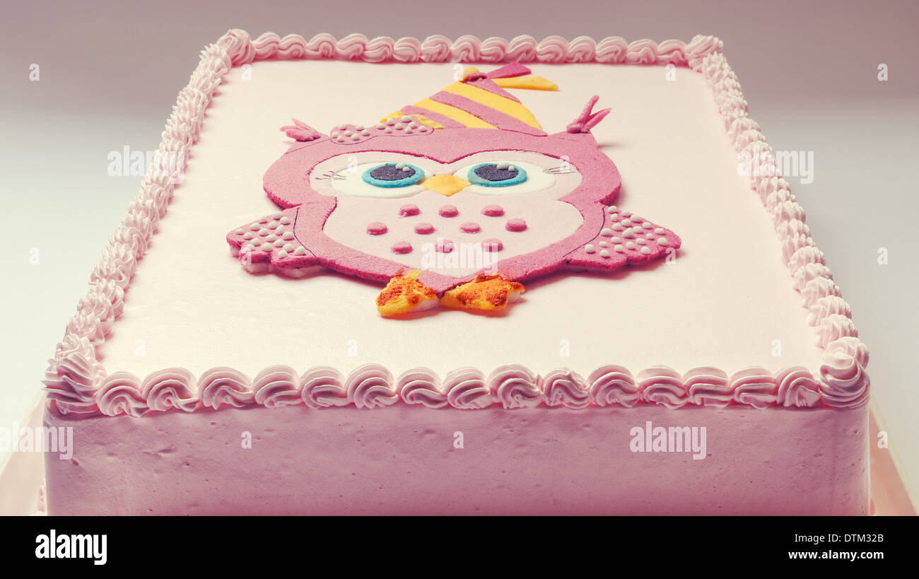 Swell Pink Birthday Cake With Funny Owl On Top Stock Photo 66824307 Alamy Funny Birthday Cards Online Elaedamsfinfo