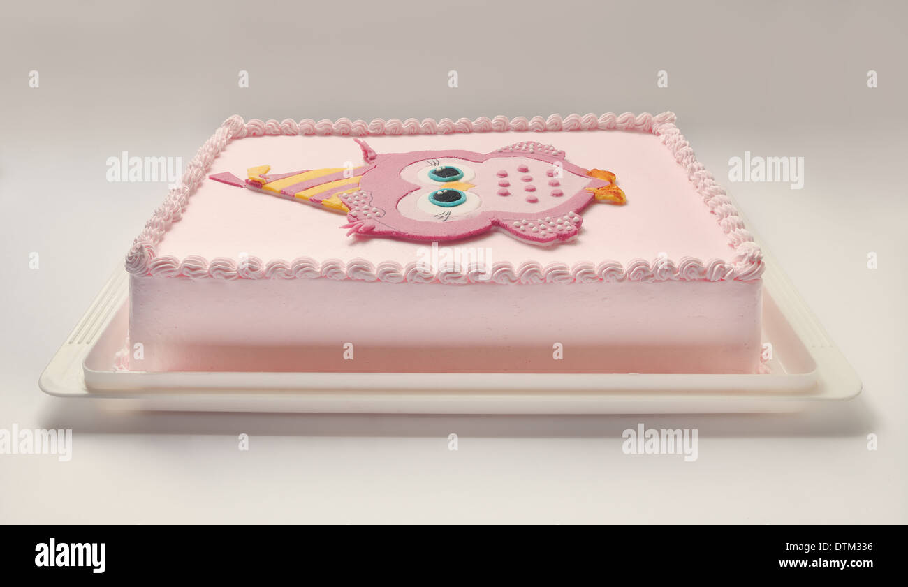 Pink Birthday Cake With Funny Owl On Top Stock Photo 66824330 Alamy