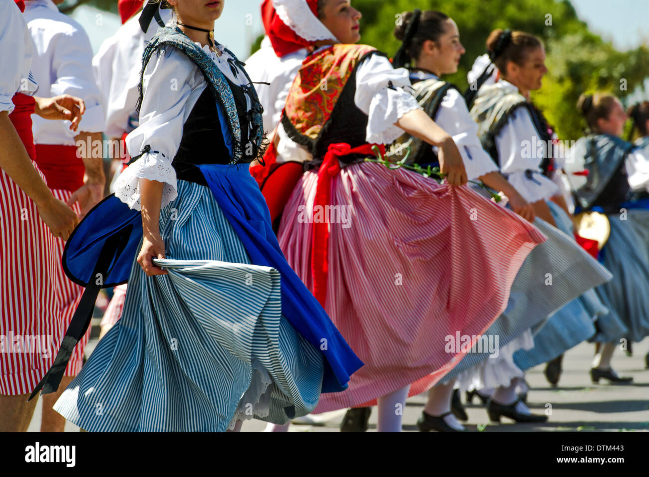 Europe, France, Alpes-Maritimes, Antibes. Traditional Provencal festival. Folk dance. - Stock Image