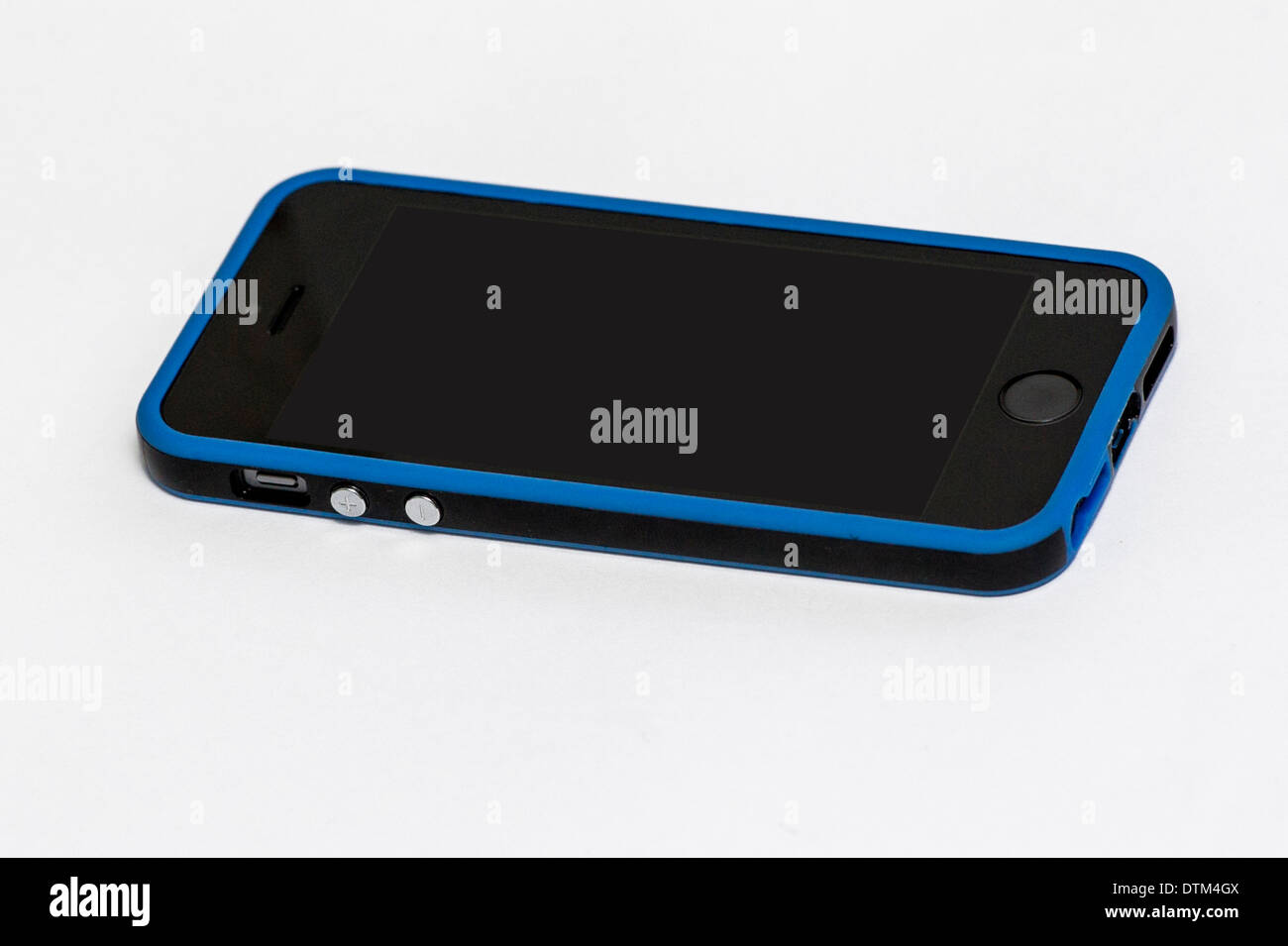 bc73d59db5d6 An Apple iPhone 5S in space grey in a blue and black case Stock ...