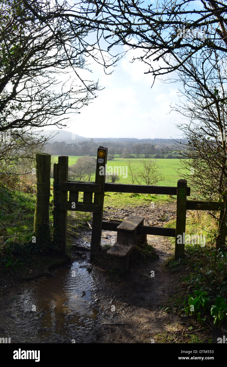 Countryside stile gate leading to open fields. - Stock Image