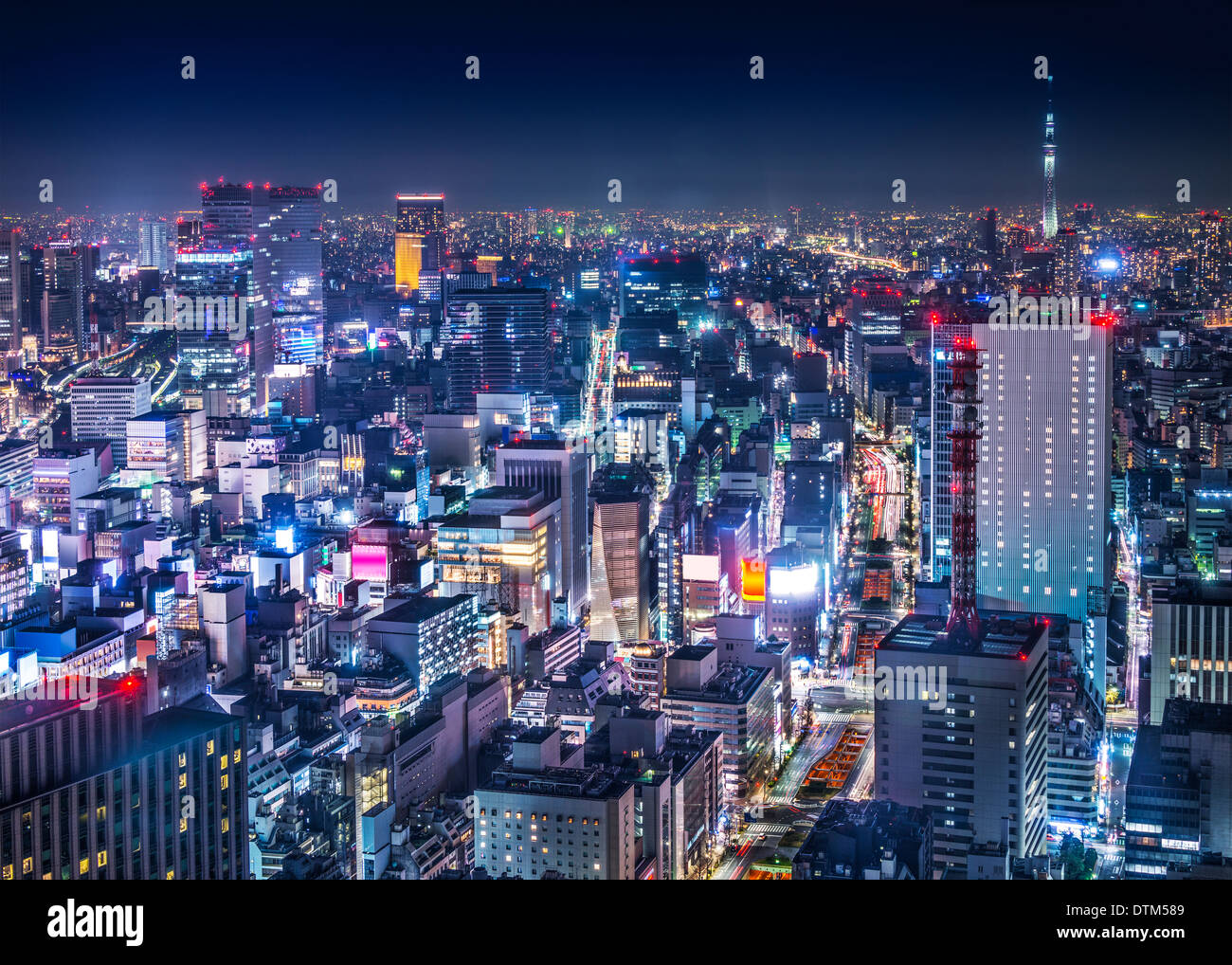Tokyo, Japan cityscape aerial cityscape over Ginza district at night. Stock Photo