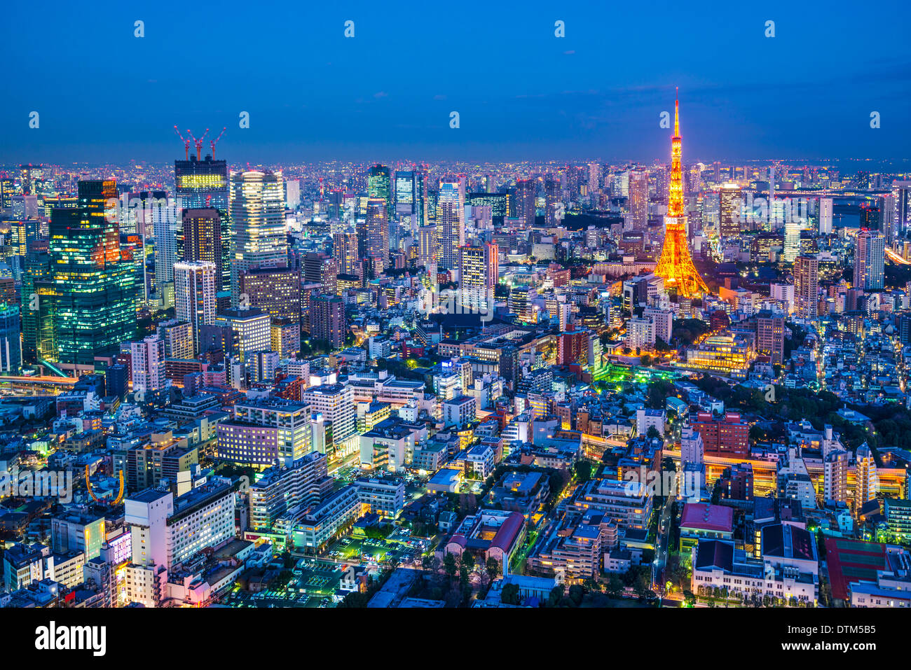 Tokyo, Japan cityscape aerial cityscape view at dusk. - Stock Image