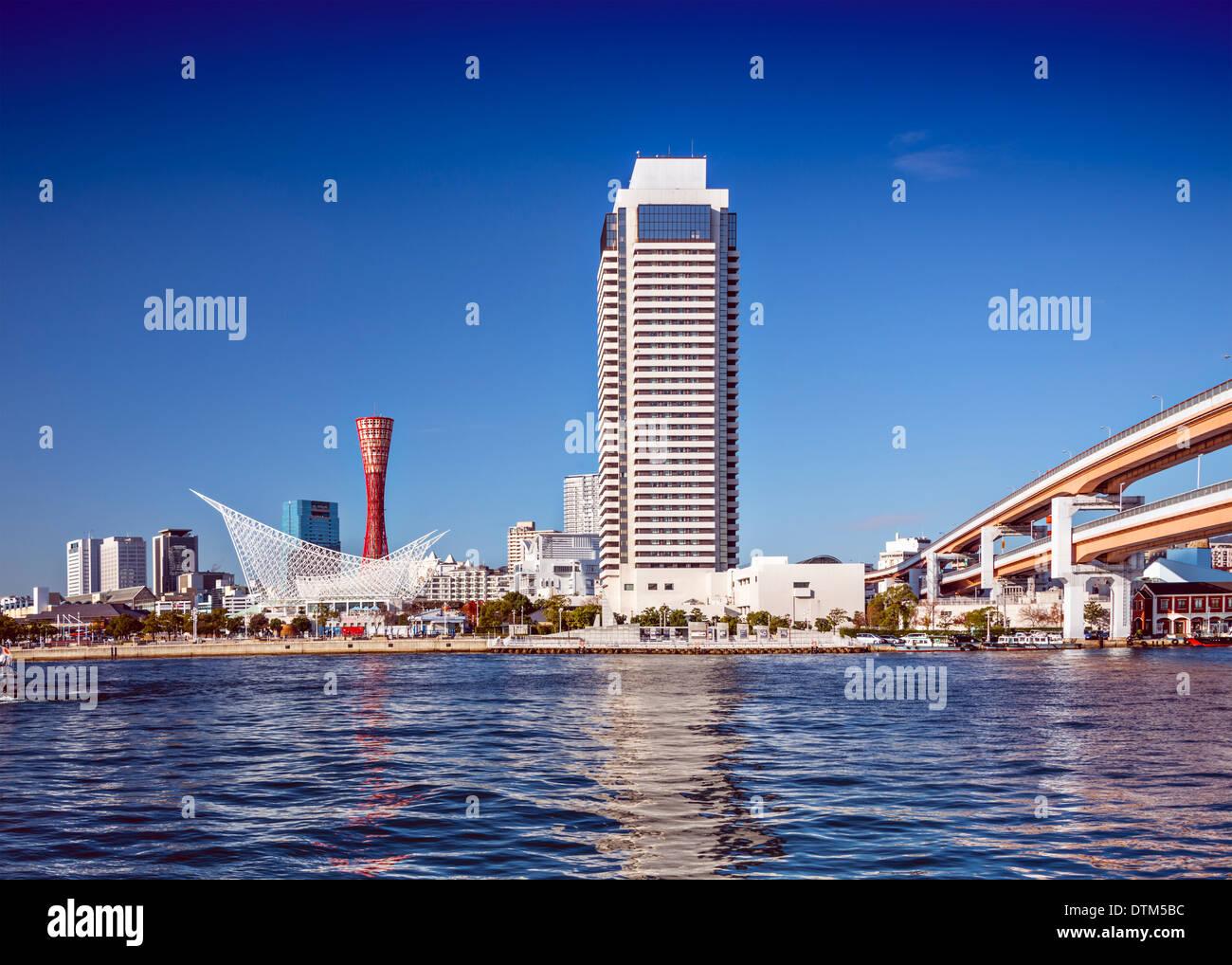 Kobe, Japan skyline at Harborland and Meriken Park. - Stock Image