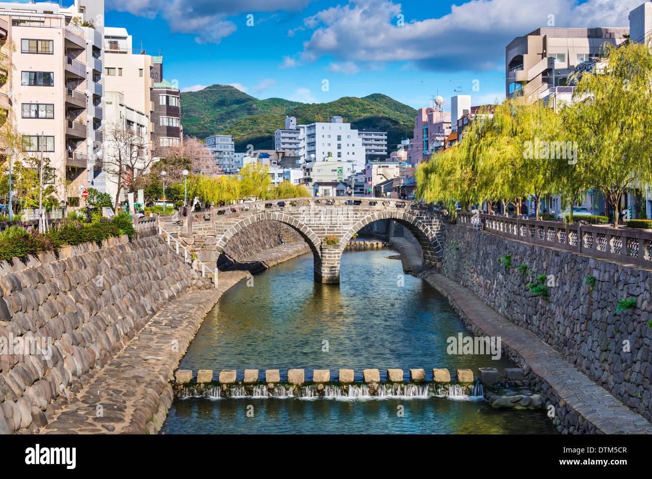 Nagasaki, Japan at historic Megane 'Spectacles' Bridge over the Nakashima River. - Stock Image