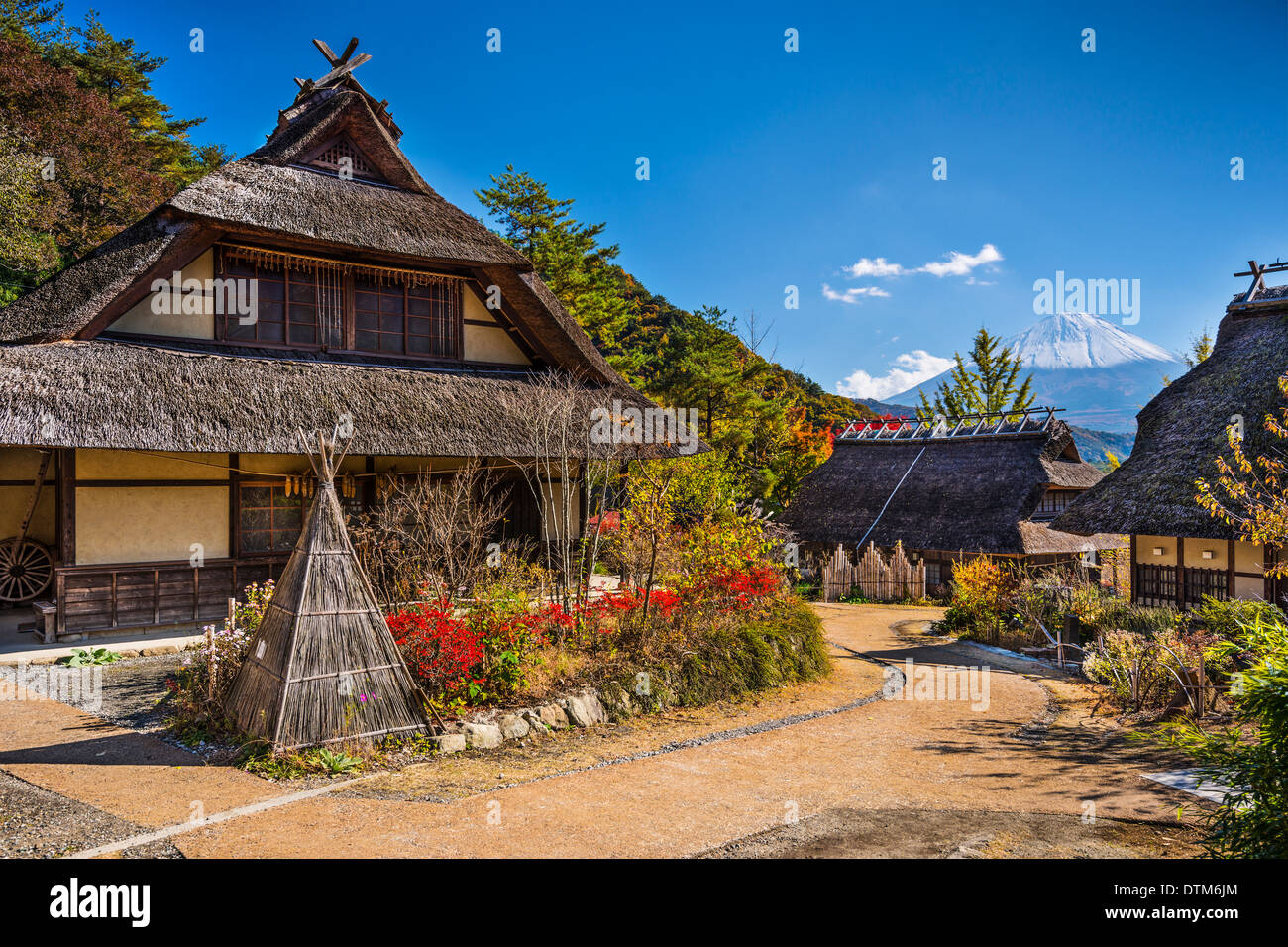 Japan at Iyashi No Sato Village with Mt. Fuji in the distance. - Stock Image