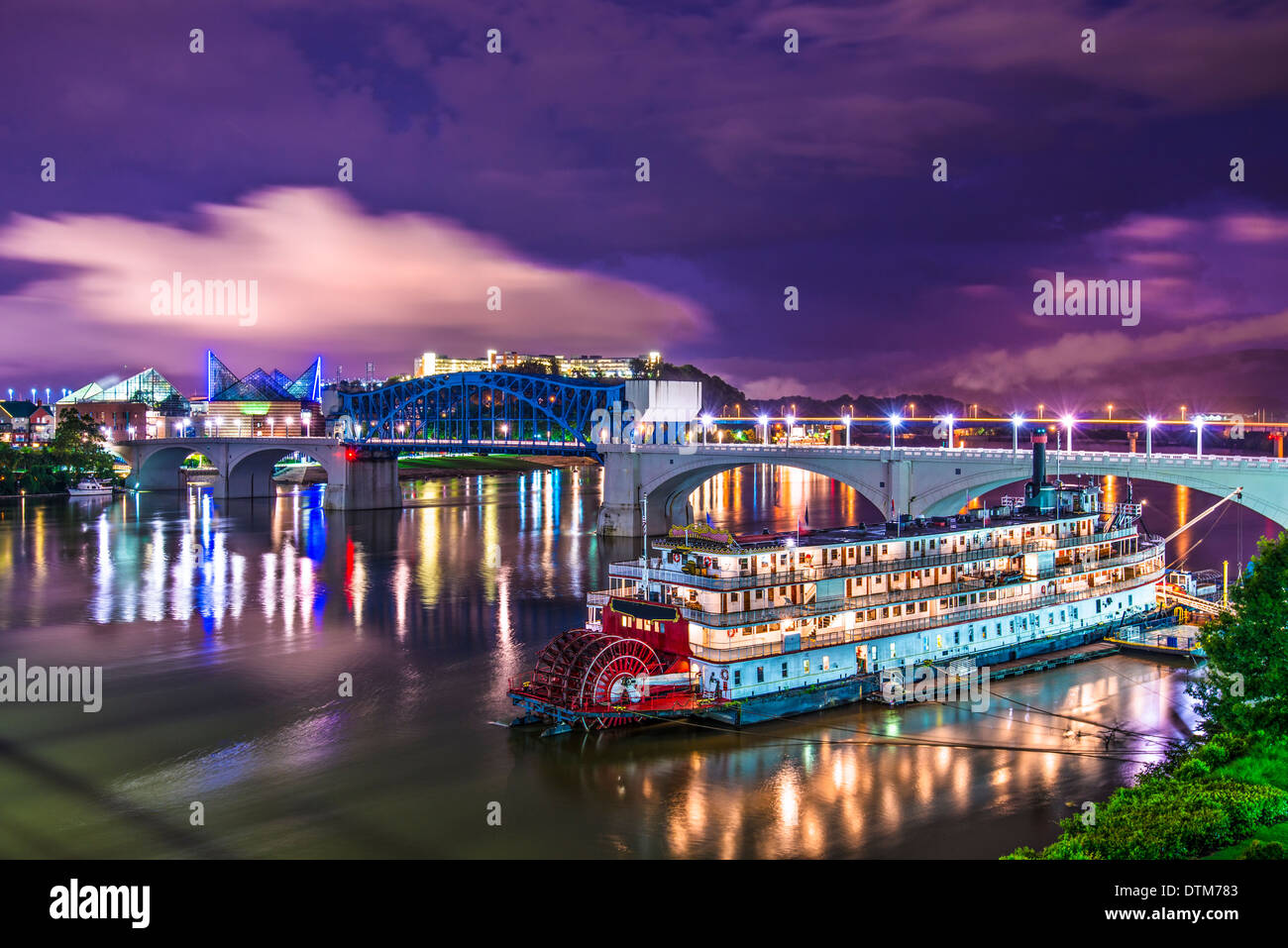 Chattanooga, Tennessee, USA downtown over the Tennessee River. - Stock Image