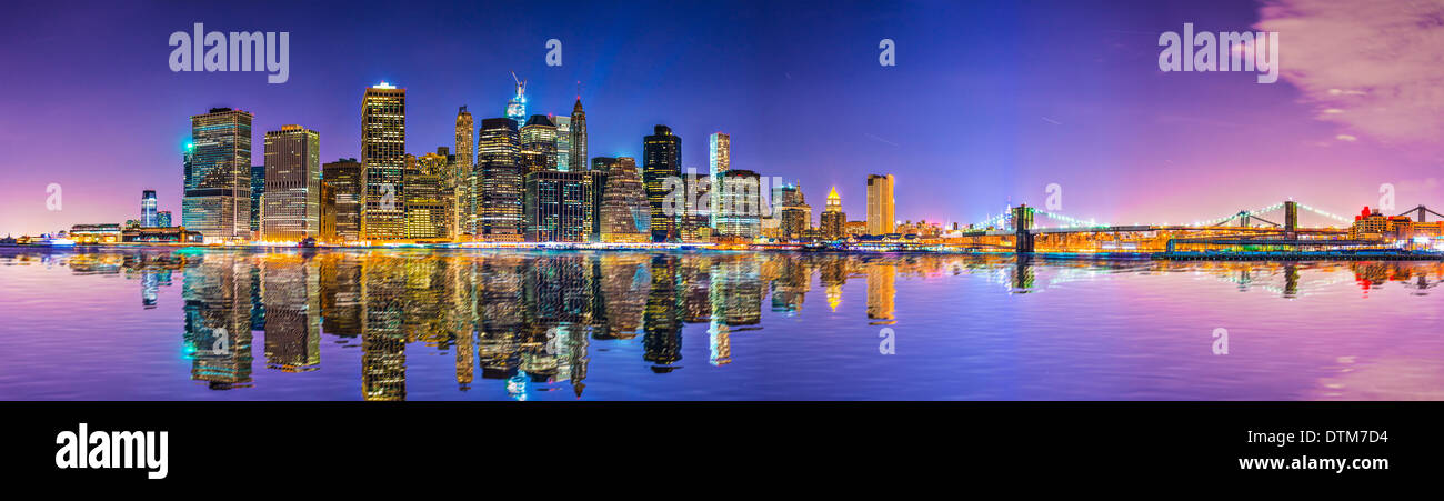 New York City Financial District skyline across the East River. - Stock Image