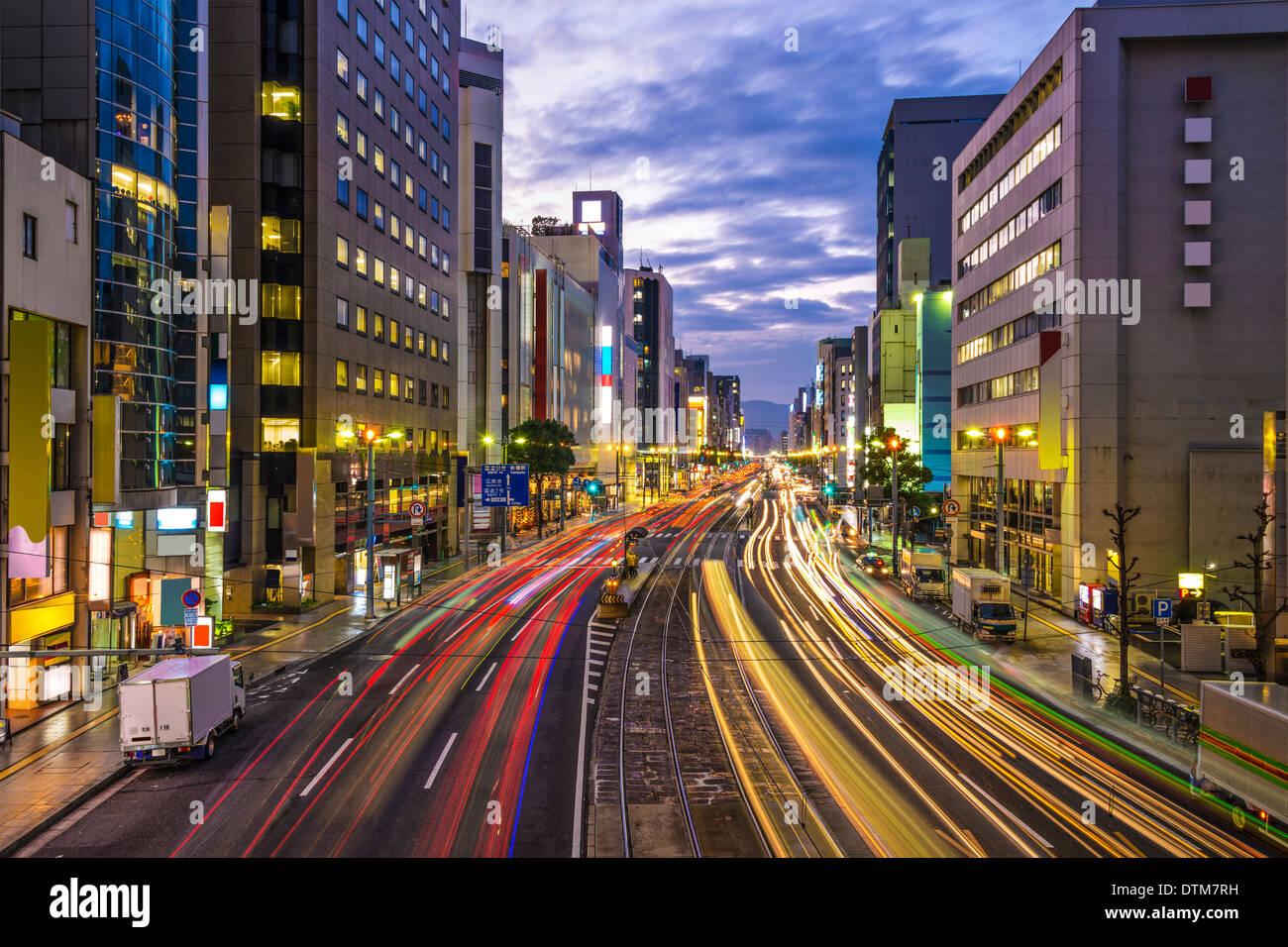 Hiroshima, Japan downtown at Aioi-dori Avenue. - Stock Image