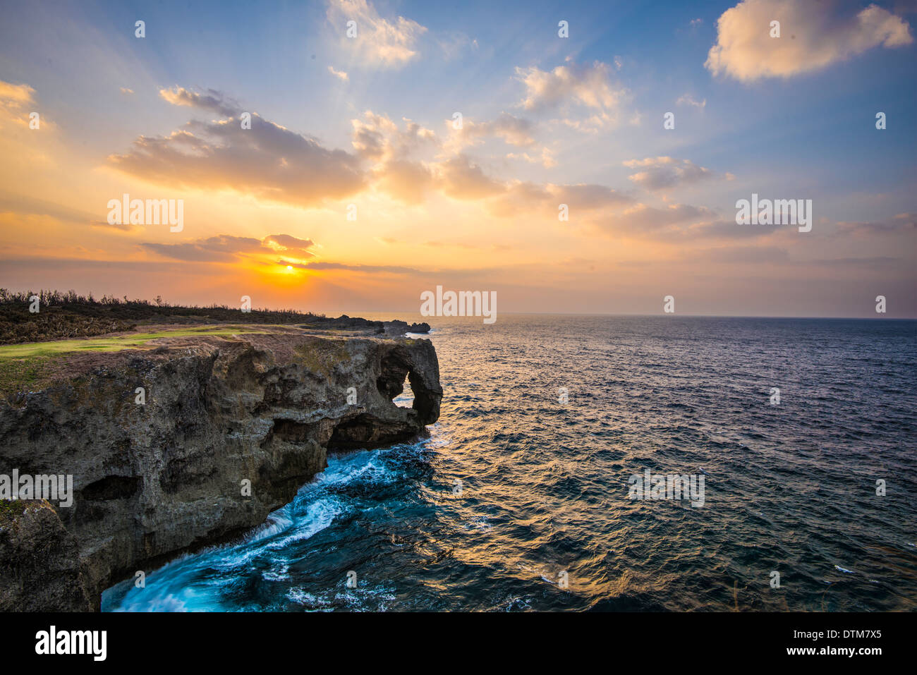 Manzamo Cape in Okinawa, Japan. - Stock Image